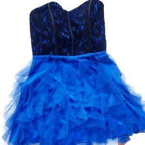 USA Strapless Blue Black Tulle Short Dress